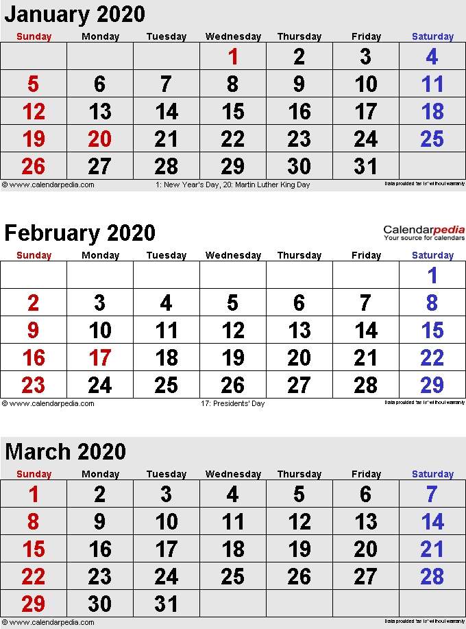 February 2020 Calendars For Word Excel Pdf