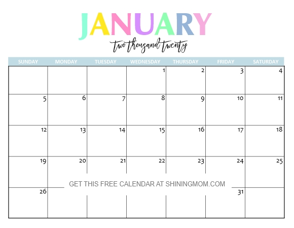 Free Printable 2020 Calendar So Beautiful Colorful