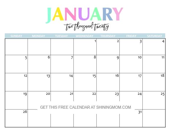 Free Printable 2020 Calendar So Beautiful Colorful