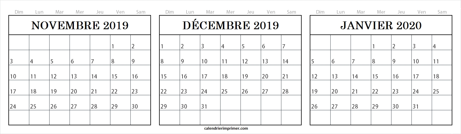 Imprimer Trois Mois Calendrier Novembre Dcembre 2019 Janvier 2020