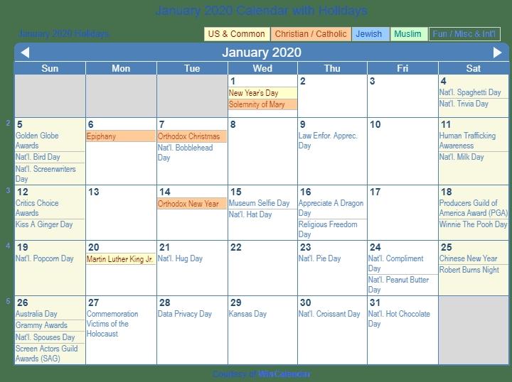 January 2020 Calendar With Holidays United States