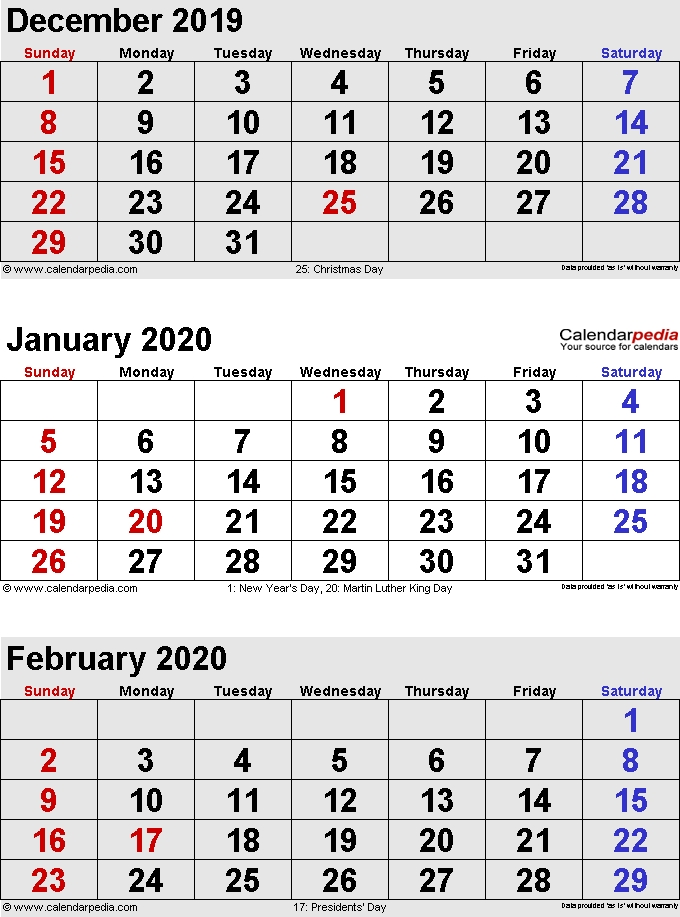 January 2020 Calendars For Word Excel Pdf