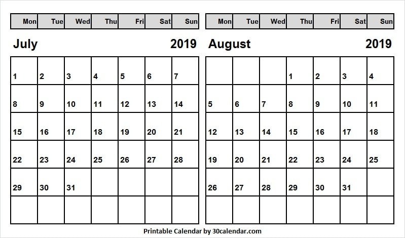 Jul Aug 2019 Calendar Us With Holidays July 2019 Calendar Images