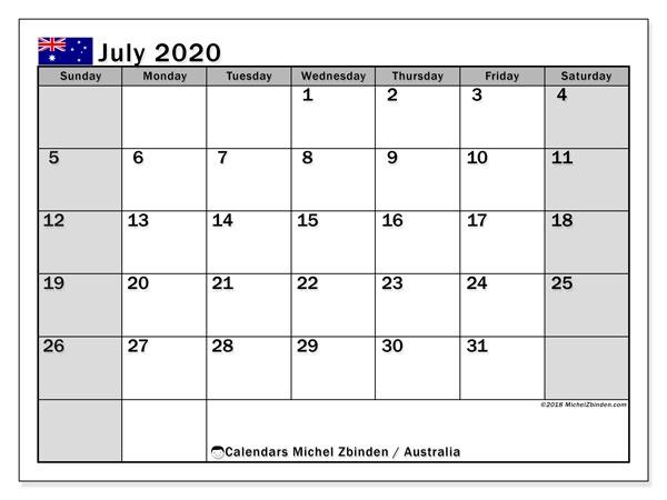 July 2020 Calendar Australia Michel Zbinden En