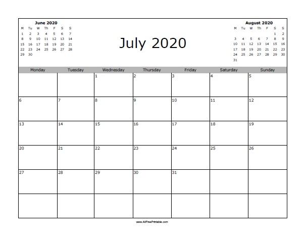 July 2020 Calendar Free Printable Allfreeprintable