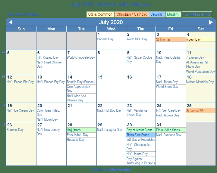 July 2020 Calendar With Holidays United States