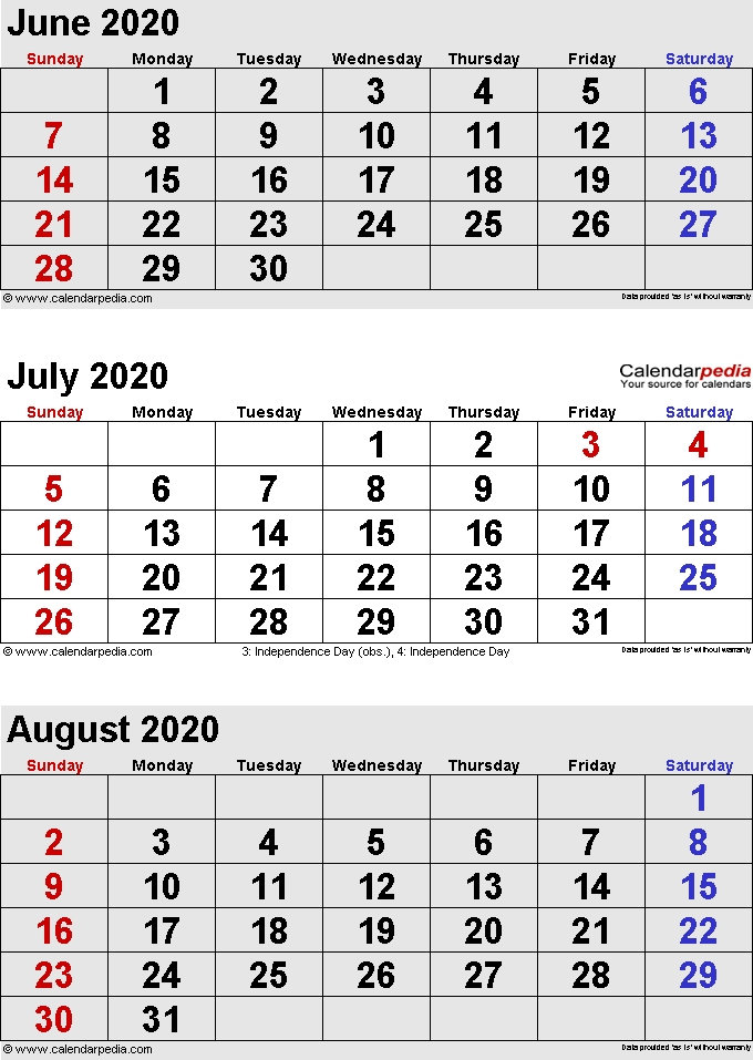 July 2020 Calendars For Word Excel Pdf