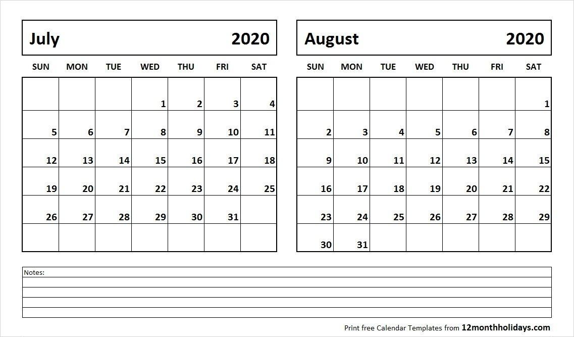 July And August 2020 Calendar 2018 Calendar December Calendar