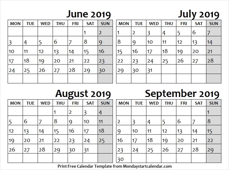 Jun Jul Aug And Sep 2019 Calendar Fillable Printable Template