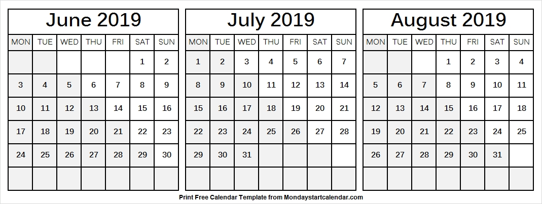 June July August 2019 Calendar With Lines Printable Template