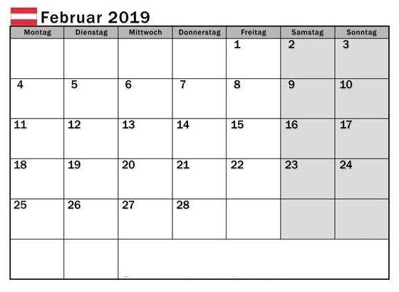 Kalender Februar 2019 In Pdf Word Excel Druckbare Vorlage