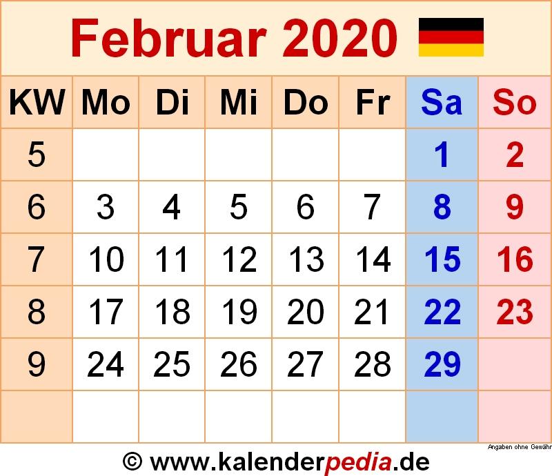 Kalender Februar 2020 Als Pdf Vorlagen
