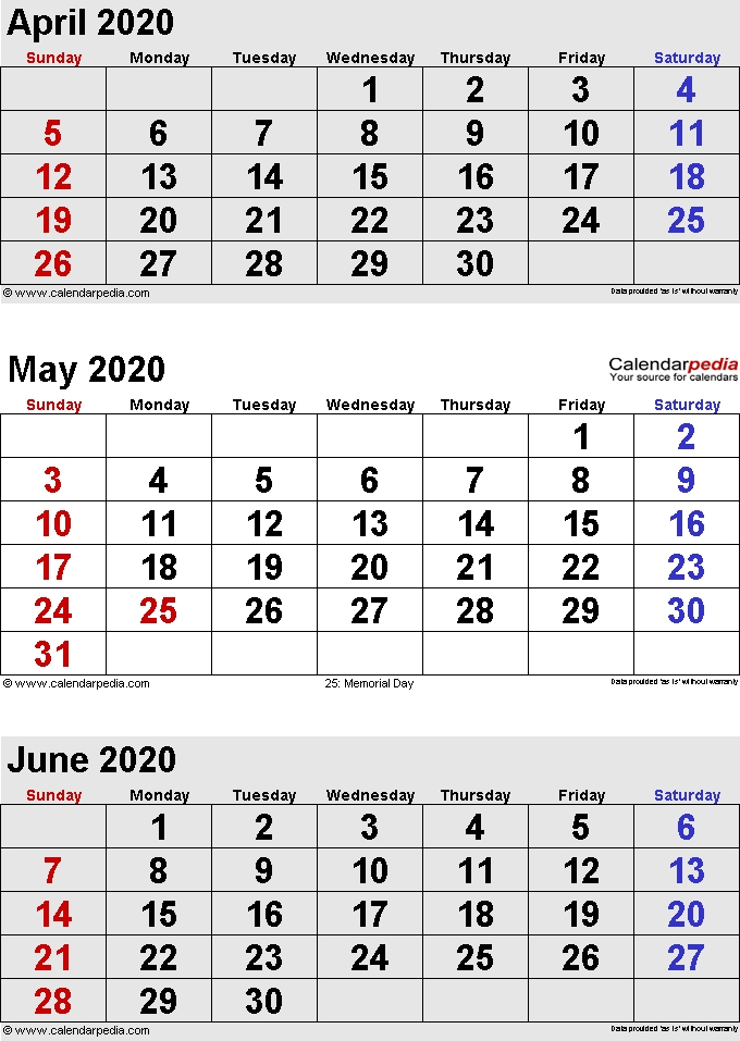 May 2020 Calendars For Word Excel Pdf