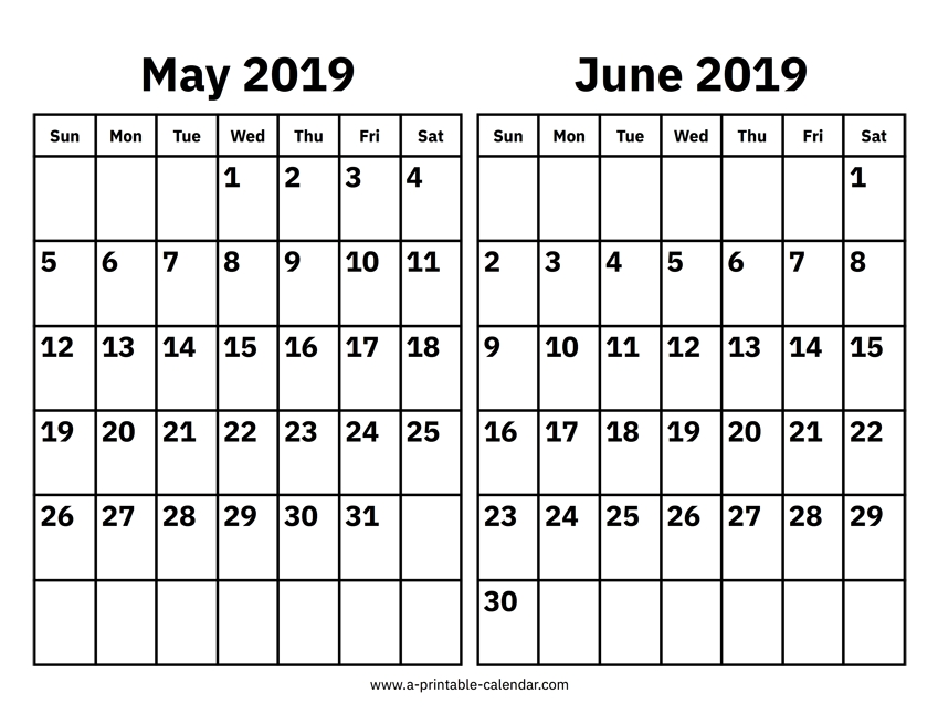 May And June 2019 Calendar Printable Calendar 2019