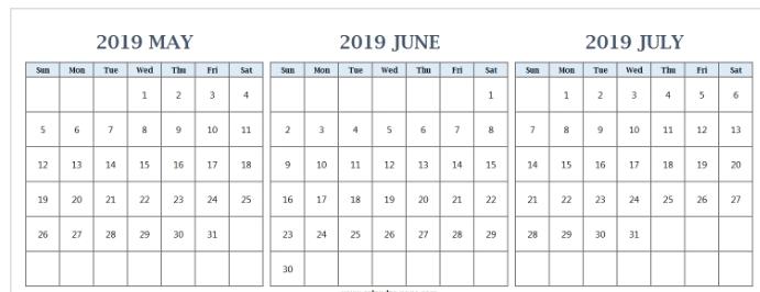 May To July 2019 Calendar Template 2019 Calendars 2019 Calendar