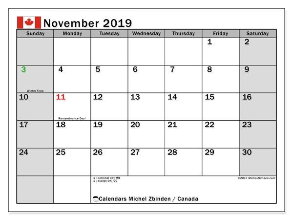 November 2019 Calendar Canada Michel Zbinden En