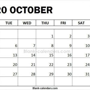 October 2020 Calendar Monday Start 2020 Calendar November