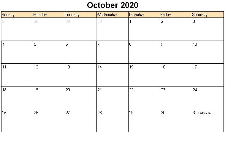 October 2020 Printable Calendar Printable Hub