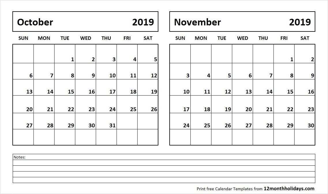 October November 2019 Printable Calendar All 12 Month Calendar