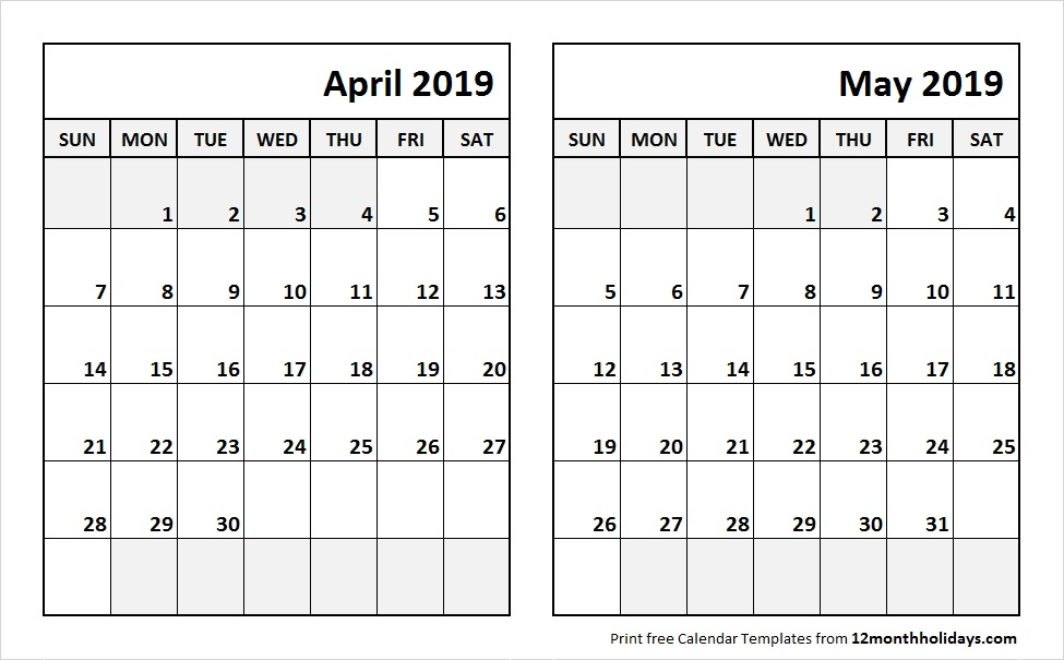 Print April May 2019 Calendar Template 2 Month Calendar