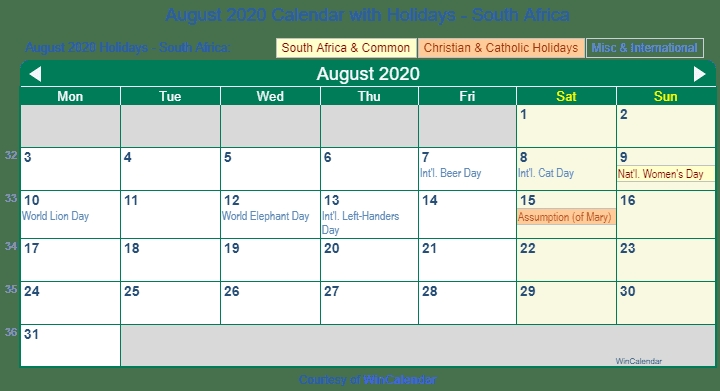 Print Friendly August 2020 South Africa Calendar For Printing