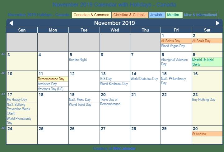 Print Friendly November 2019 Canada Calendar For Printing