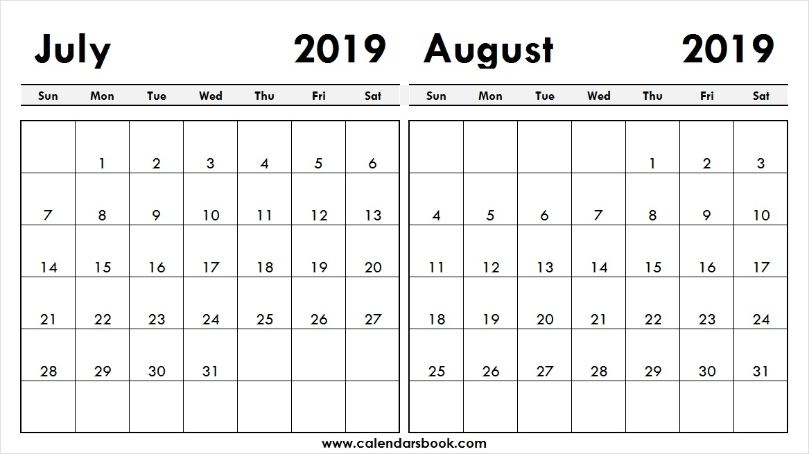 Print July August 2019 Calendar Template 2 Month Calendar