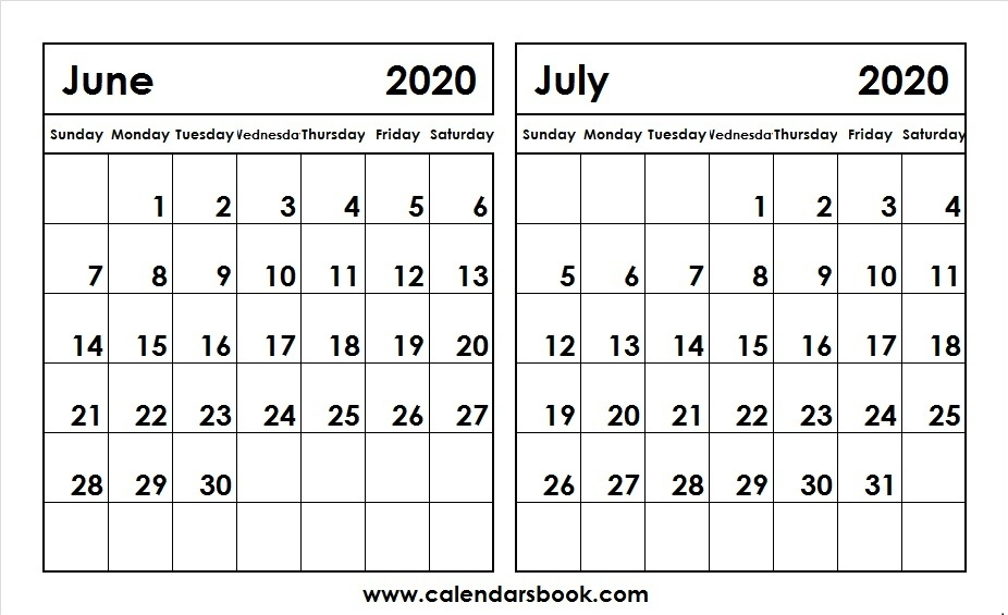 Print June July 2020 Calendar Template 2 Month Calendar
