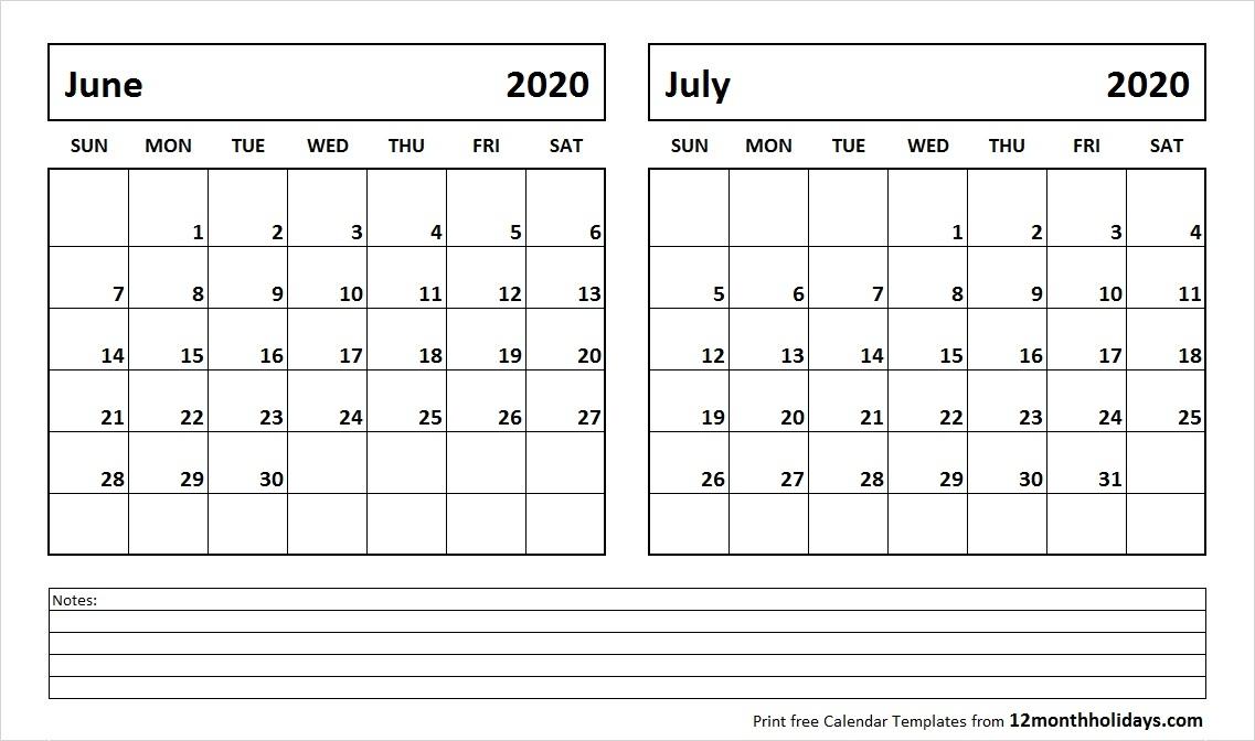 Print June July 2020 Calendar Template 2 Month Calendar