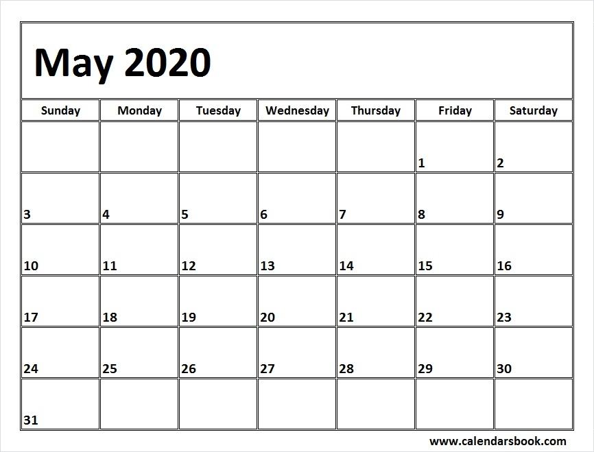 Print May 2020 Calendar Template Blank Printable Calendar