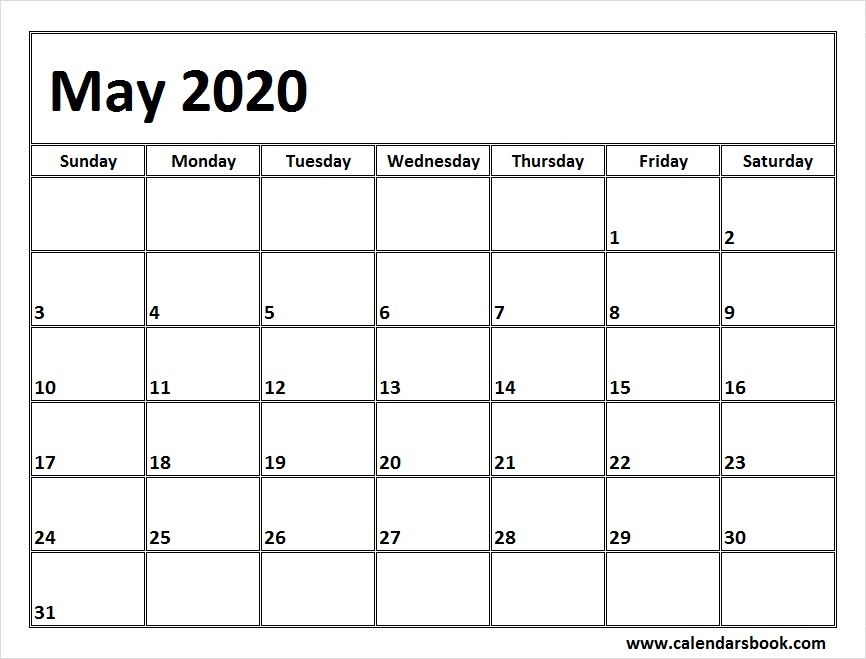 Print May 2020 Calendar Template Blank Printable Calendar