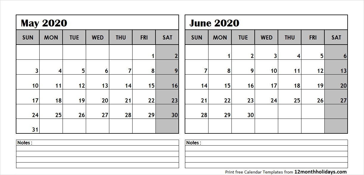 Print May June 2020 Calendar Template 2 Month Calendar