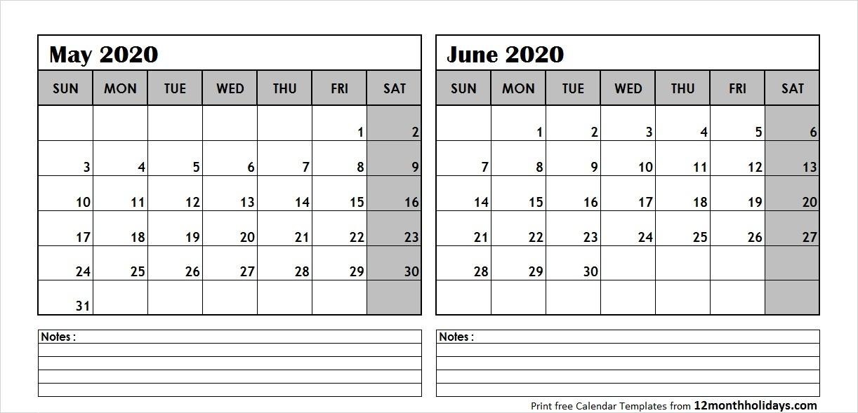 Print May June 2020 Calendar Template 2 Month Calendar