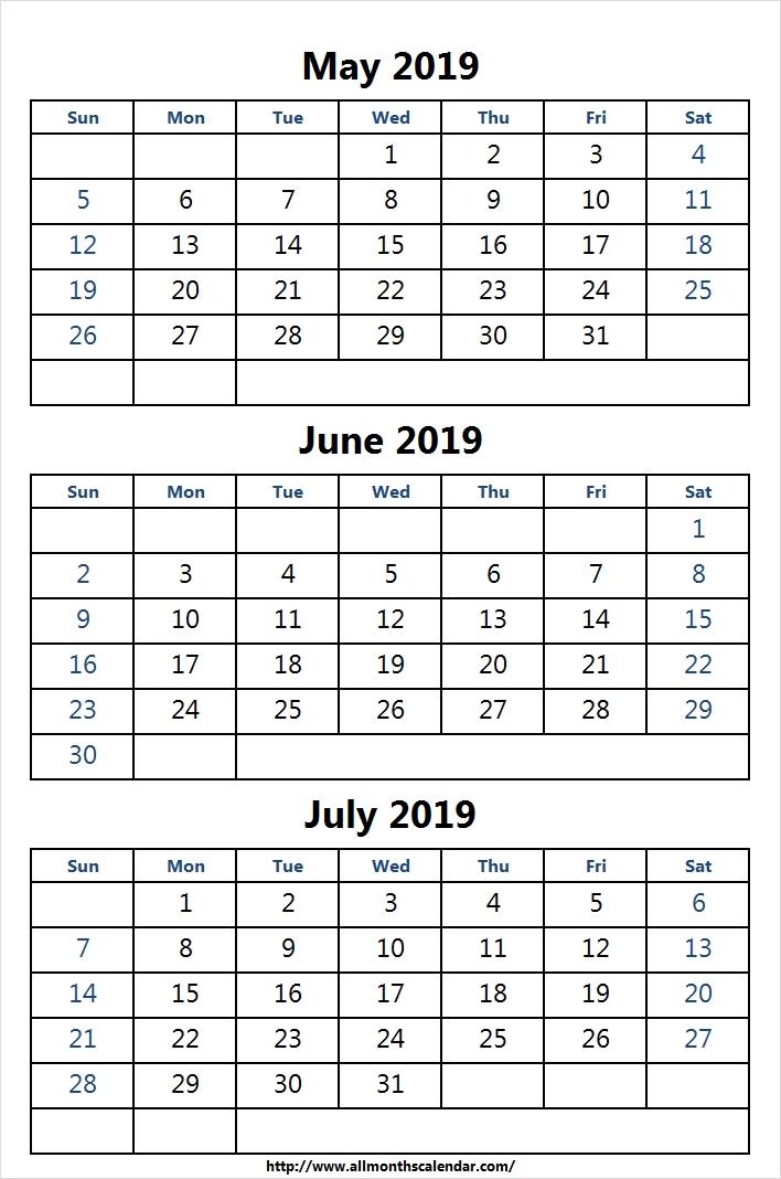 Print May June July 2019 Calendar Template May 2019 Calendar Excel
