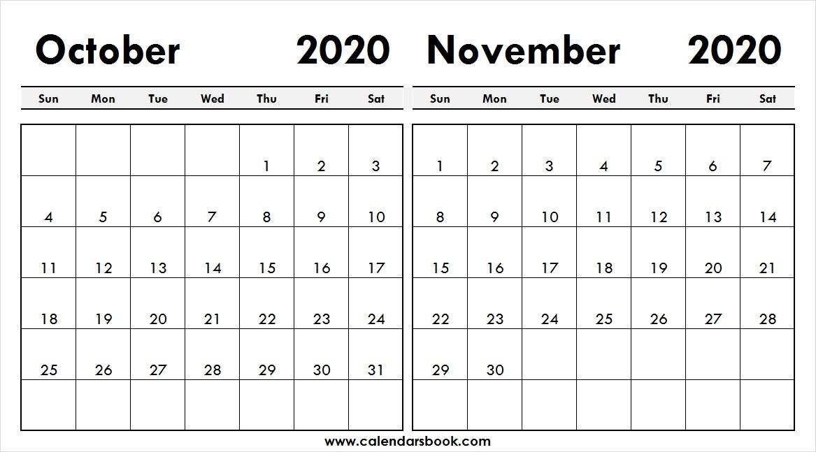 Print October November 2020 Calendar Template 2 Month Calendar