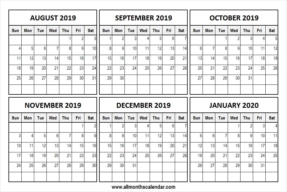 Printable August 2019 January 2020 Calendar Pinterst