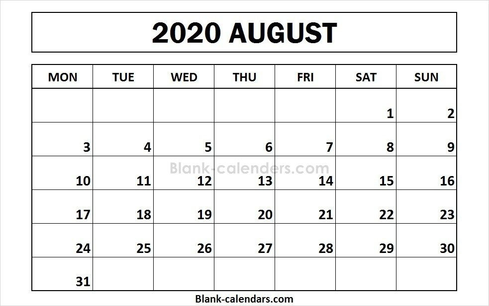 Printable August 2020 Calendar Monday Start 2020 Calendar