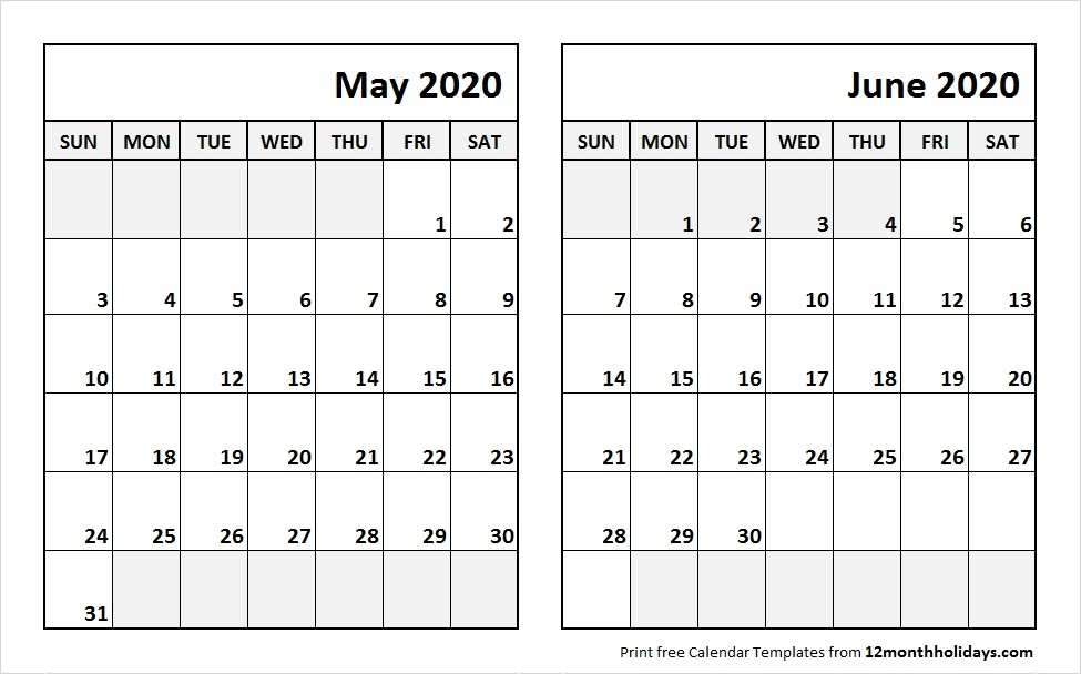 Printable Blank Two Month Calendar May June 2020 Template