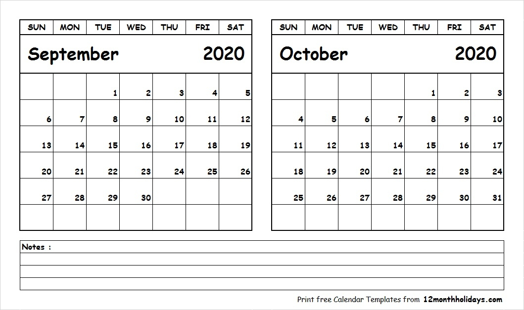 Printable Blank Two Month Calendar September October 2020 Template