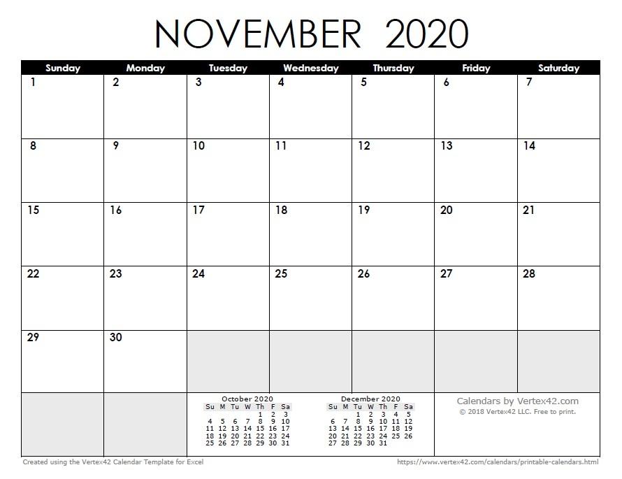 Printable Calendar November And December 2020 2020 Calendar