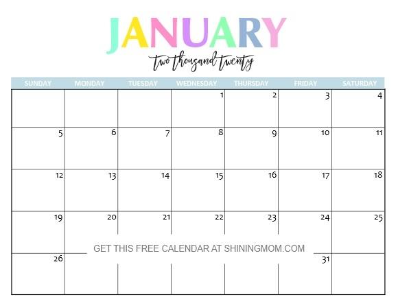 Printable January Calendars 2020 Free Printable 2020 Calendar So