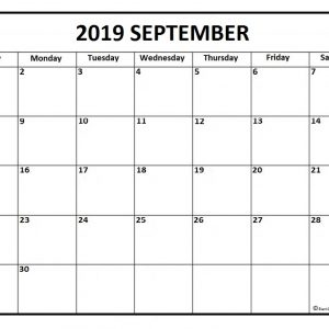 September 2019 Calendar Free Printable Monthly Calendars
