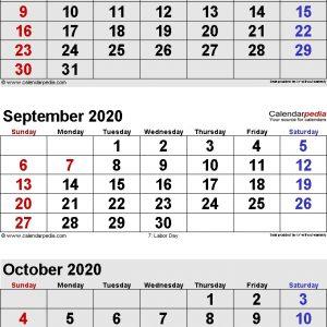 September 2020 Calendars For Word Excel Pdf