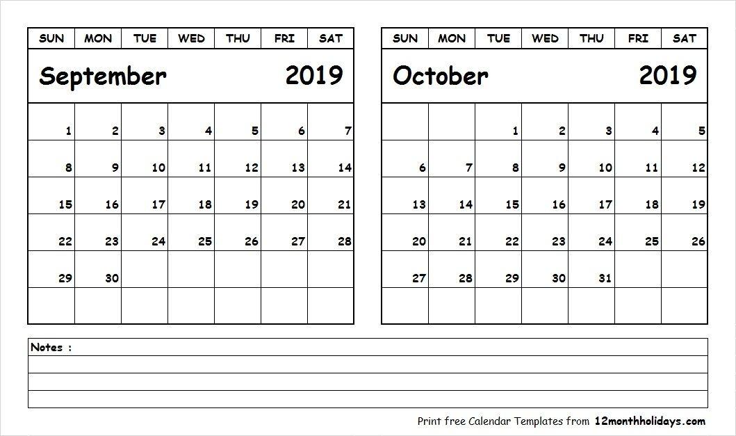 September October 2019 Calendar Printable 2018 Calendar January