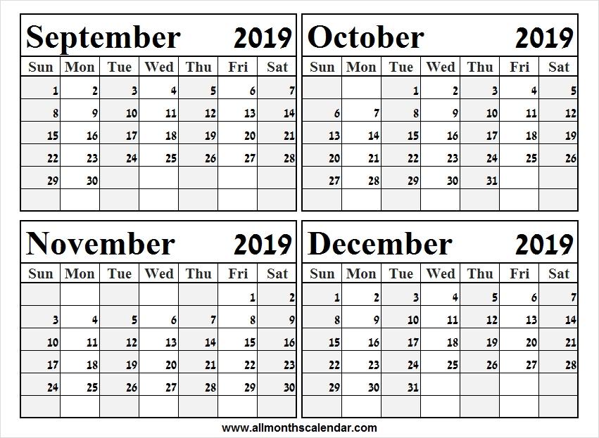 September To December 2019 Calendar Printable A4 Template 2019