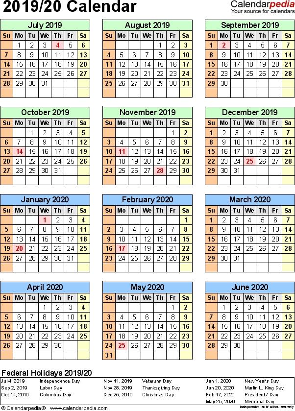 Split Year Calendar 201920 July To June Pdf Templates