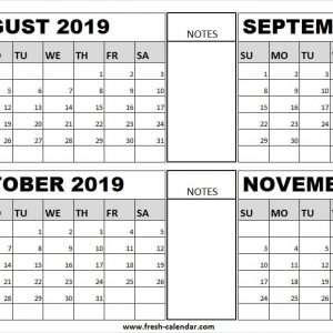White Calendar 2019 August September October And November Events