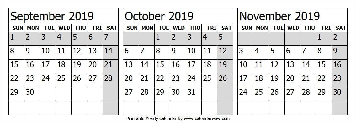 Calendar 2019 Sep Oct Nov Black And White Calendar