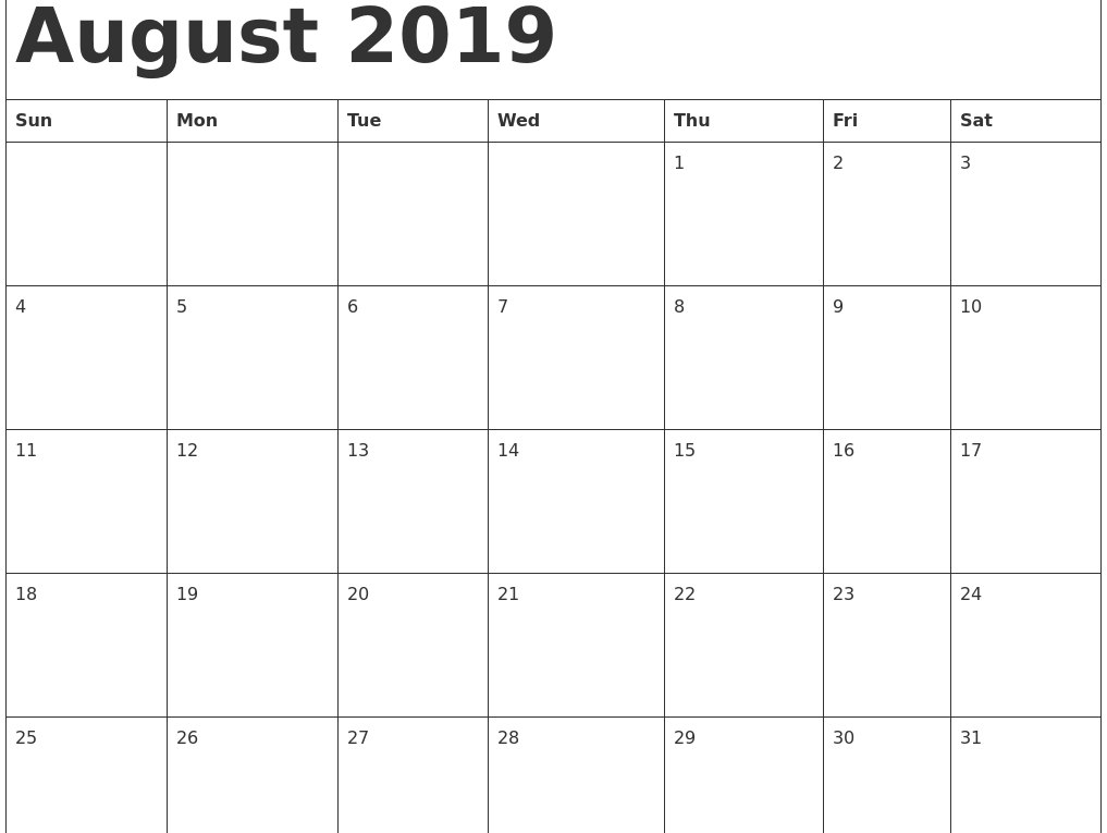 Free Monthly August 2019 Calendar Printable Template Word Pdf Excel