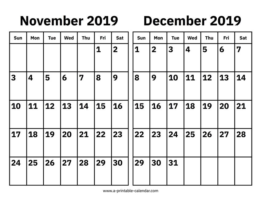 November And December 2019 Calendar Printable Calendar 2019